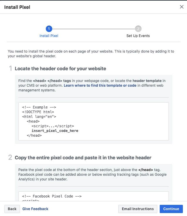install pixel code